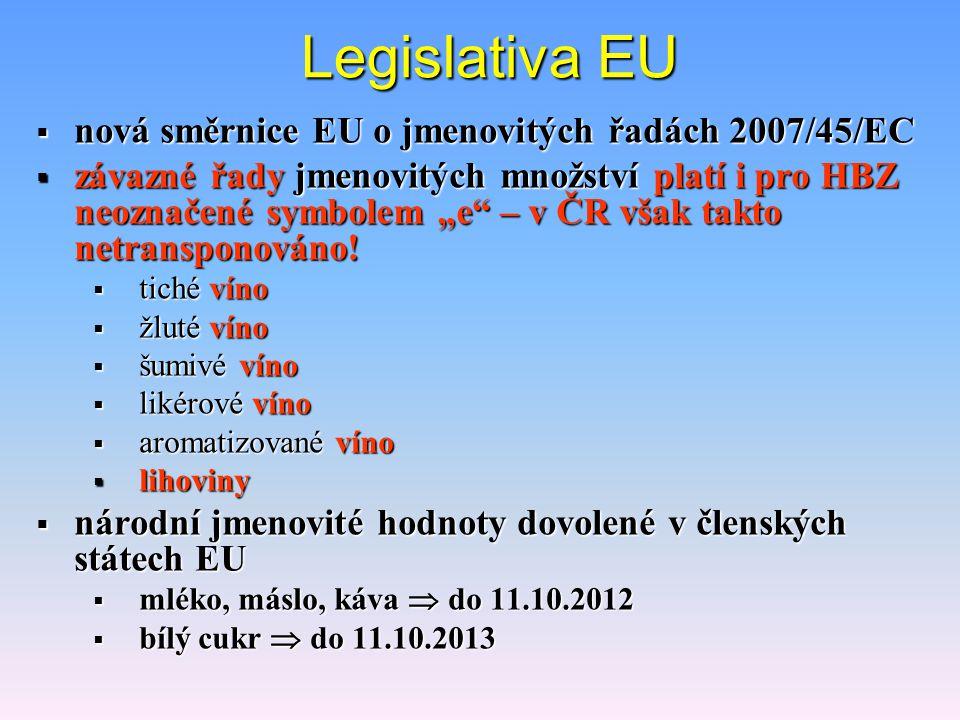 """Legislativa EU  nová směrnice EU o jmenovitých řadách 2007/45/EC  závazné řady jmenovitých množství platí i pro HBZ neoznačené symbolem """"e – v ČR však takto netransponováno."""
