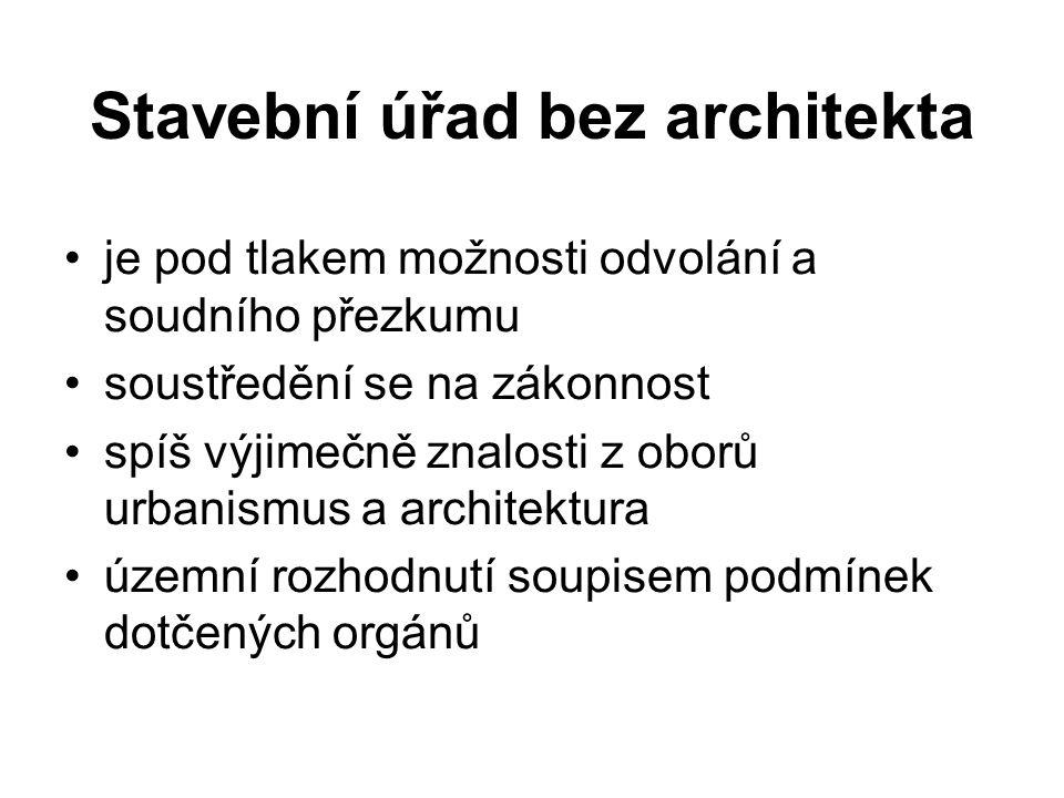 Stavební úřad bez architekta je pod tlakem možnosti odvolání a soudního přezkumu soustředění se na zákonnost spíš výjimečně znalosti z oborů urbanismus a architektura územní rozhodnutí soupisem podmínek dotčených orgánů