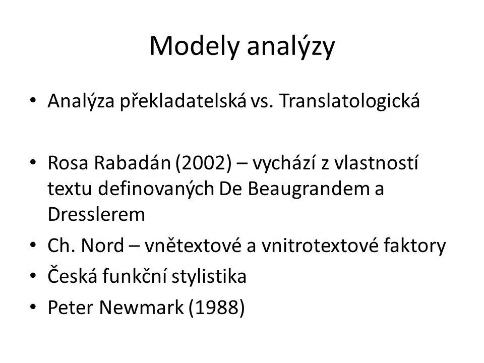 Modely analýzy Analýza překladatelská vs. Translatologická Rosa Rabadán (2002) – vychází z vlastností textu definovaných De Beaugrandem a Dresslerem C