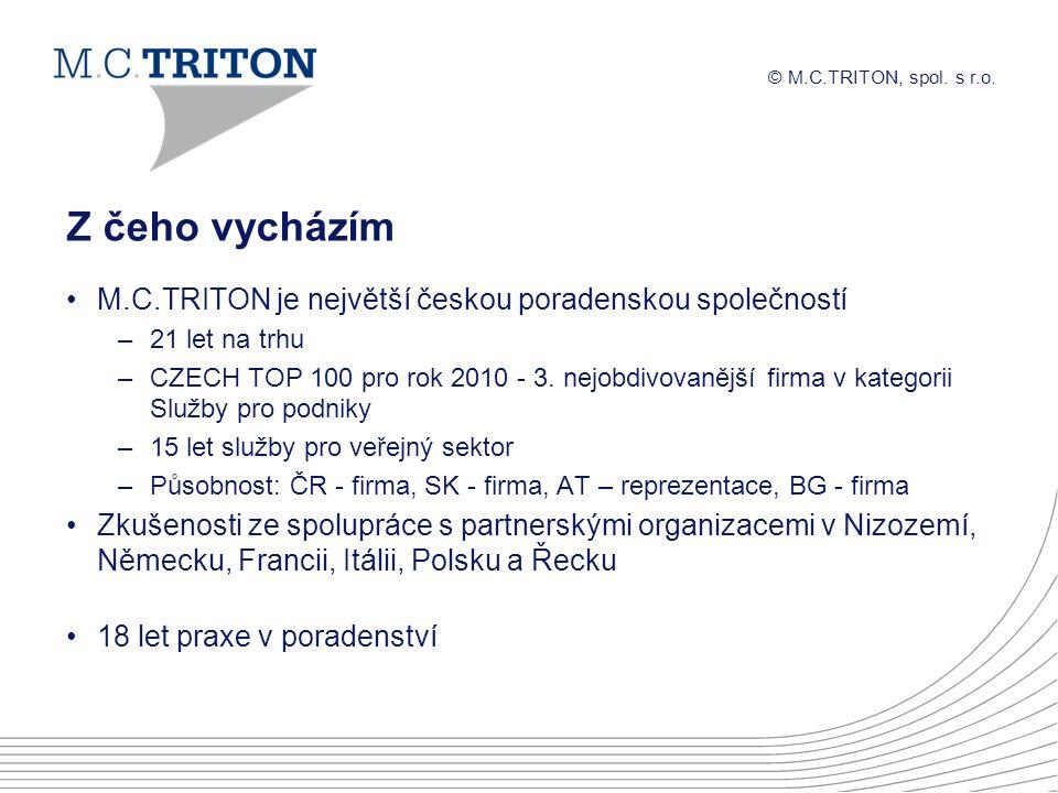 © M.C.TRITON, spol. s r.o. Z čeho vycházím M.C.TRITON je největší českou poradenskou společností –21 let na trhu –CZECH TOP 100 pro rok 2010 - 3. nejo