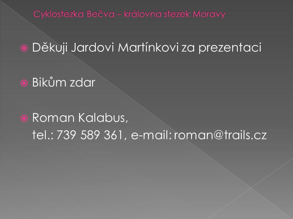  Děkuji Jardovi Martínkovi za prezentaci  Bikům zdar  Roman Kalabus, tel.: 739 589 361, e-mail: roman@trails.cz
