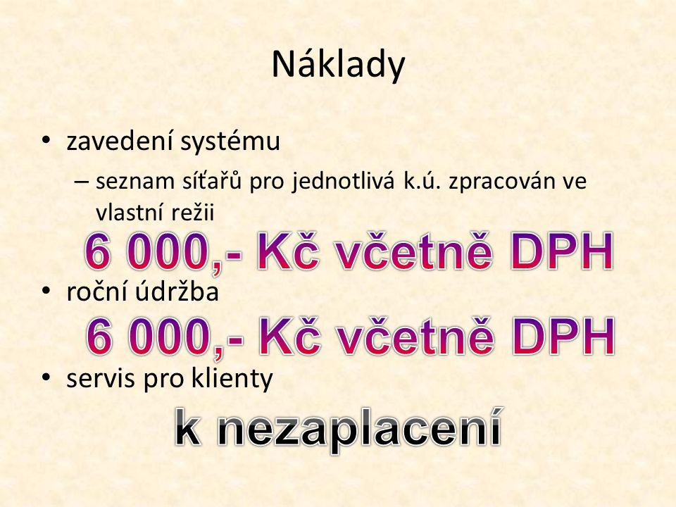 Náklady zavedení systému – seznam síťařů pro jednotlivá k.ú. zpracován ve vlastní režii roční údržba servis pro klienty
