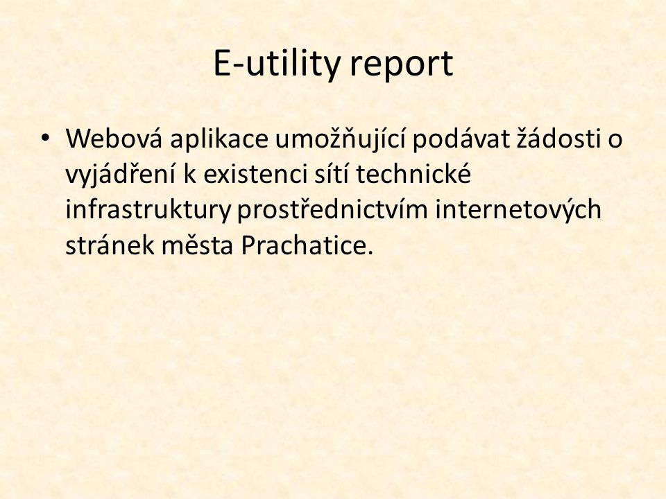 E-utility report Webová aplikace umožňující podávat žádosti o vyjádření k existenci sítí technické infrastruktury prostřednictvím internetových stráne