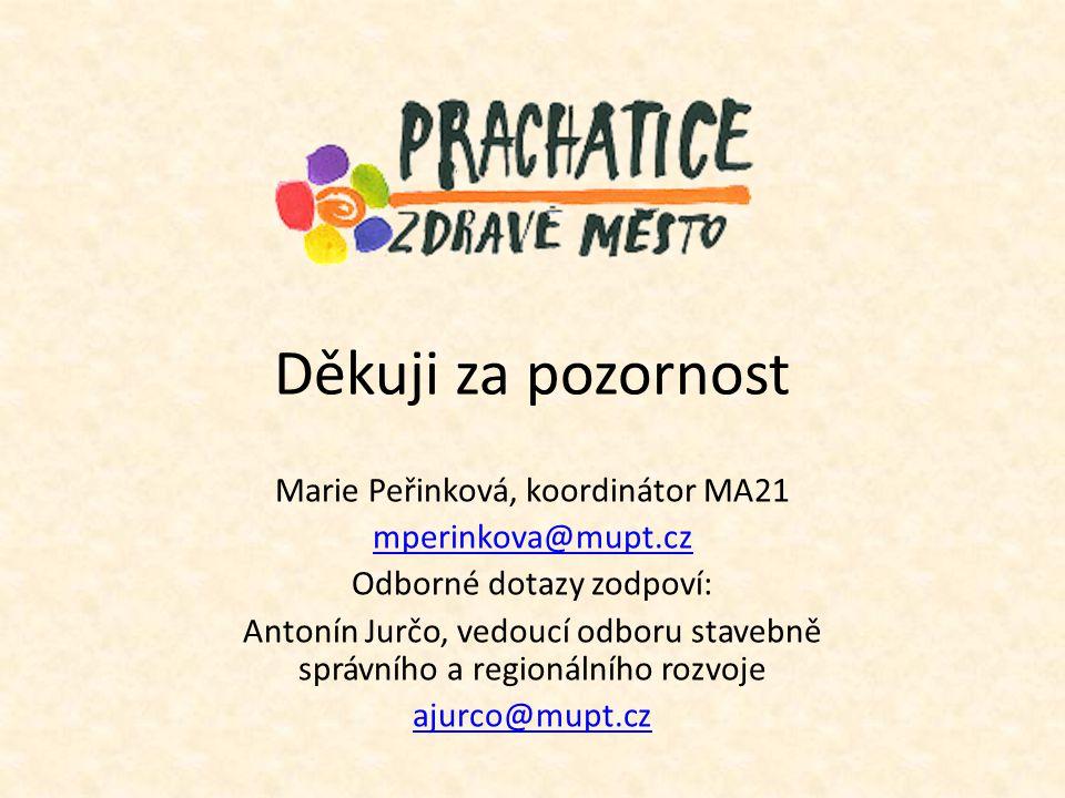 Děkuji za pozornost Marie Peřinková, koordinátor MA21 mperinkova@mupt.cz Odborné dotazy zodpoví: Antonín Jurčo, vedoucí odboru stavebně správního a re
