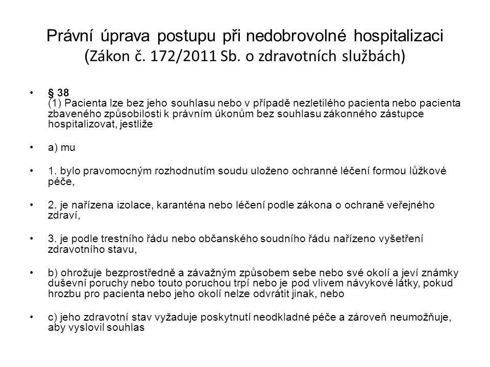 Právní úprava postupu při nedobrovolné hospitalizaci ( Zákon č. 172/2011 Sb. o zdravotních službách) § 38 (1) Pacienta lze bez jeho souhlasu nebo v př