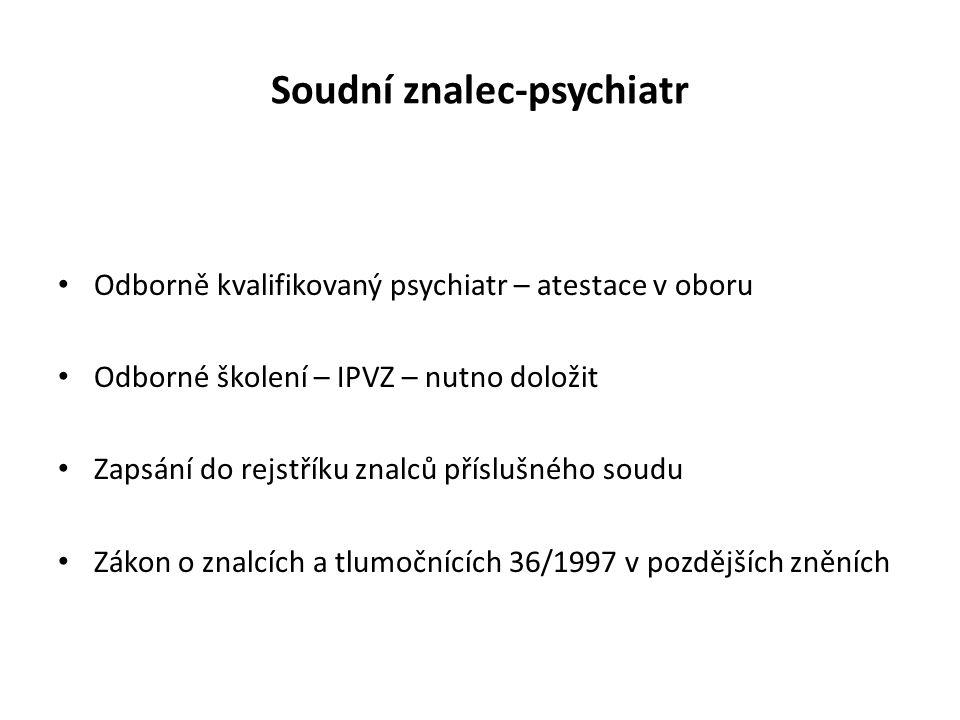 Soudní znalec-psychiatr Odborně kvalifikovaný psychiatr – atestace v oboru Odborné školení – IPVZ – nutno doložit Zapsání do rejstříku znalců příslušn