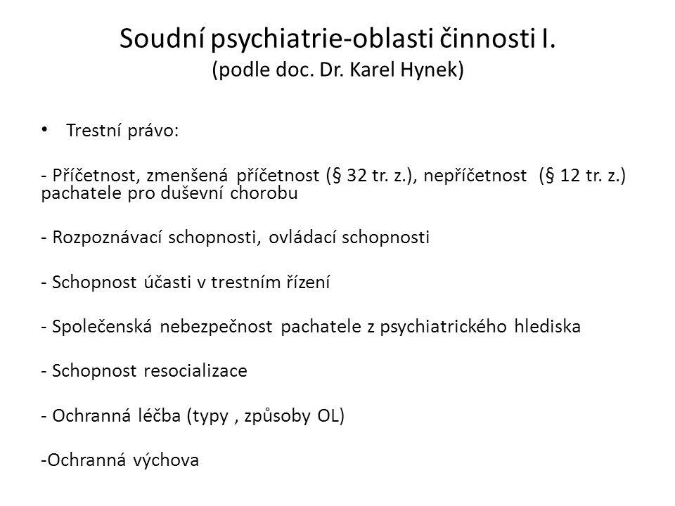 Soudní psychiatrie-oblasti činnosti I. (podle doc. Dr. Karel Hynek) Trestní právo: - Příčetnost, zmenšená příčetnost (§ 32 tr. z.), nepříčetnost (§ 12