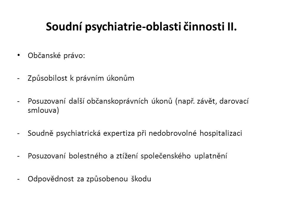 Soudní psychiatrie-oblasti činnosti II. Občanské právo: -Způsobilost k právním úkonům -Posuzovaní další občanskoprávních úkonů (např. závět, darovací