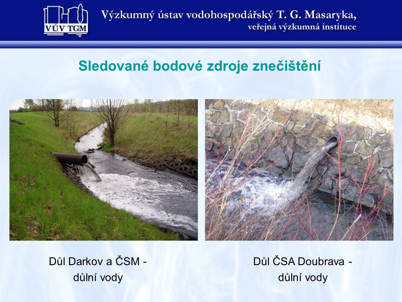 Sledované bodové zdroje znečištění Důl Darkov a ČSM - důlní vody Důl ČSA Doubrava - důlní vody