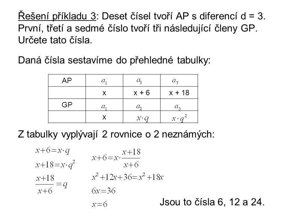 Řešení příkladu 3: Deset čísel tvoří AP s diferencí d = 3.