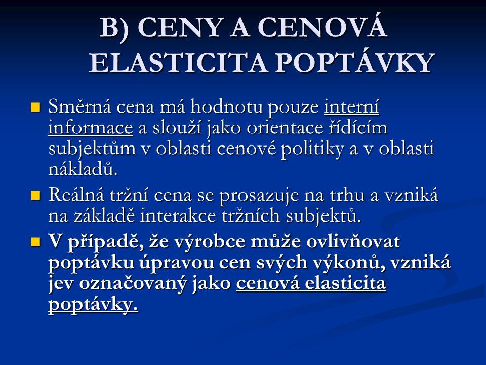 B) CENY A CENOVÁ ELASTICITA POPTÁVKY Směrná cena má hodnotu pouze interní informace a slouží jako orientace řídícím subjektům v oblasti cenové politiky a v oblasti nákladů.