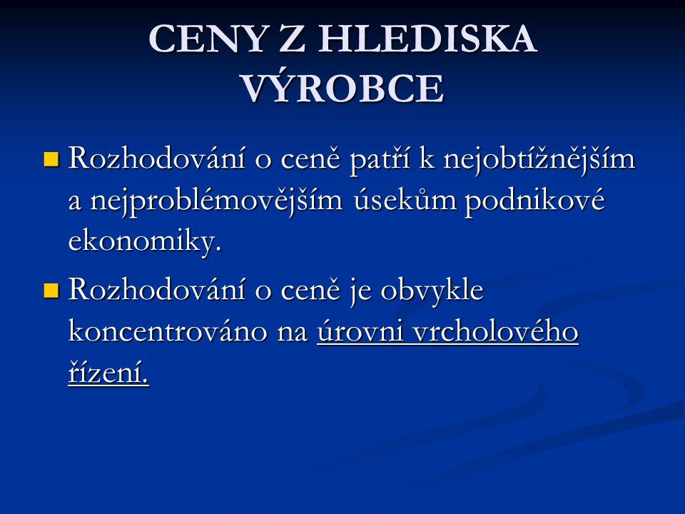 CENY Z HLEDISKA VÝROBCE Rozhodování o ceně patří k nejobtížnějším a nejproblémovějším úsekům podnikové ekonomiky.