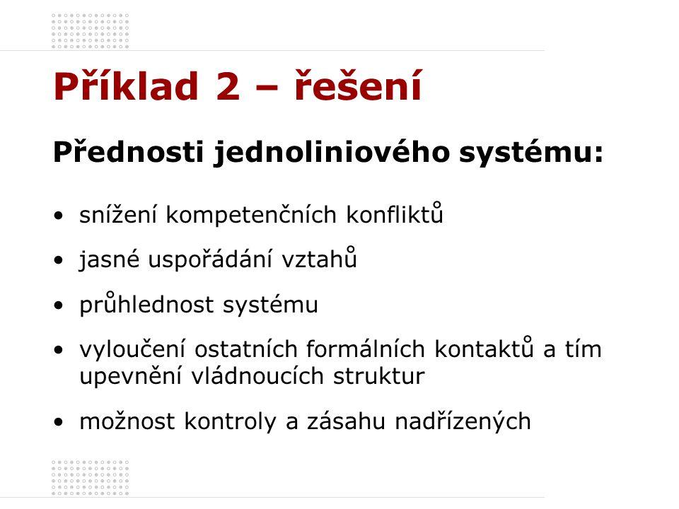 Příklad 2 – řešení Přednosti jednoliniového systému: snížení kompetenčních konfliktů jasné uspořádání vztahů průhlednost systému vyloučení ostatních f