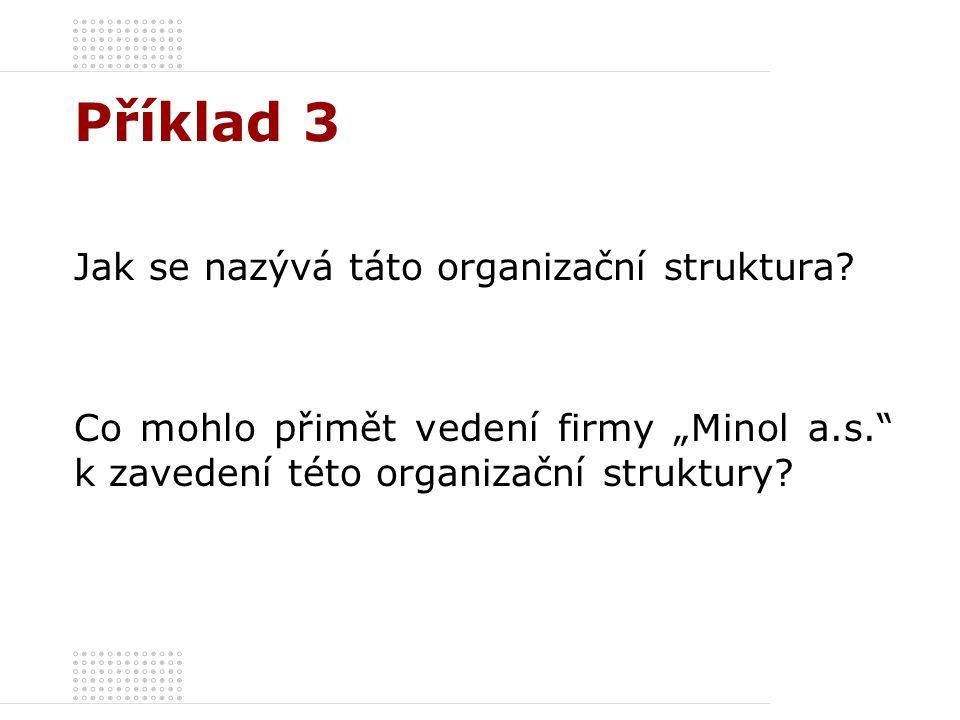 """Příklad 3 Jak se nazývá táto organizační struktura? Co mohlo přimět vedení firmy """"Minol a.s."""" k zavedení této organizační struktury?"""