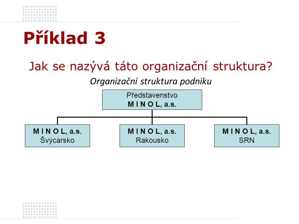 Příklad 3 Jak se nazývá táto organizační struktura? Organizační struktura podniku Představenstvo M I N O L, a.s. Švýcarsko M I N O L, a.s. Rakousko M