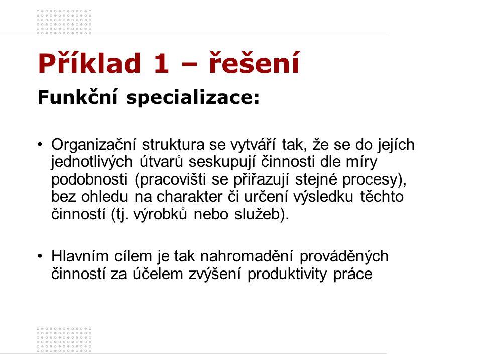Příklad 1 – řešení Organizační struktura – Předmětná specializace: Generální řiditel Štábní útvar