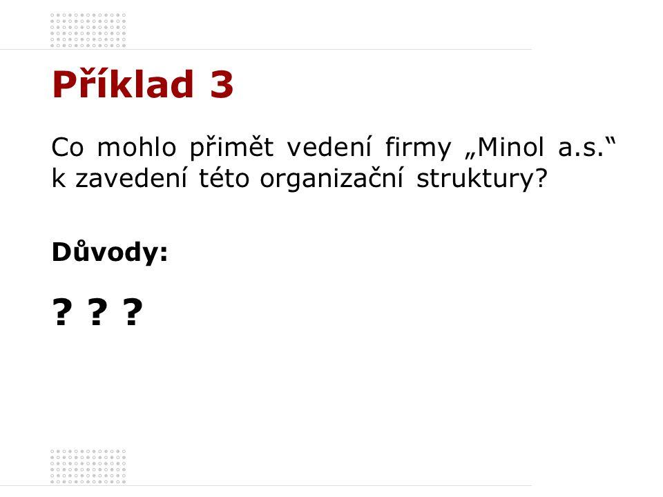 """Příklad 3 Co mohlo přimět vedení firmy """"Minol a.s."""" k zavedení této organizační struktury? Důvody: ? ? ?"""