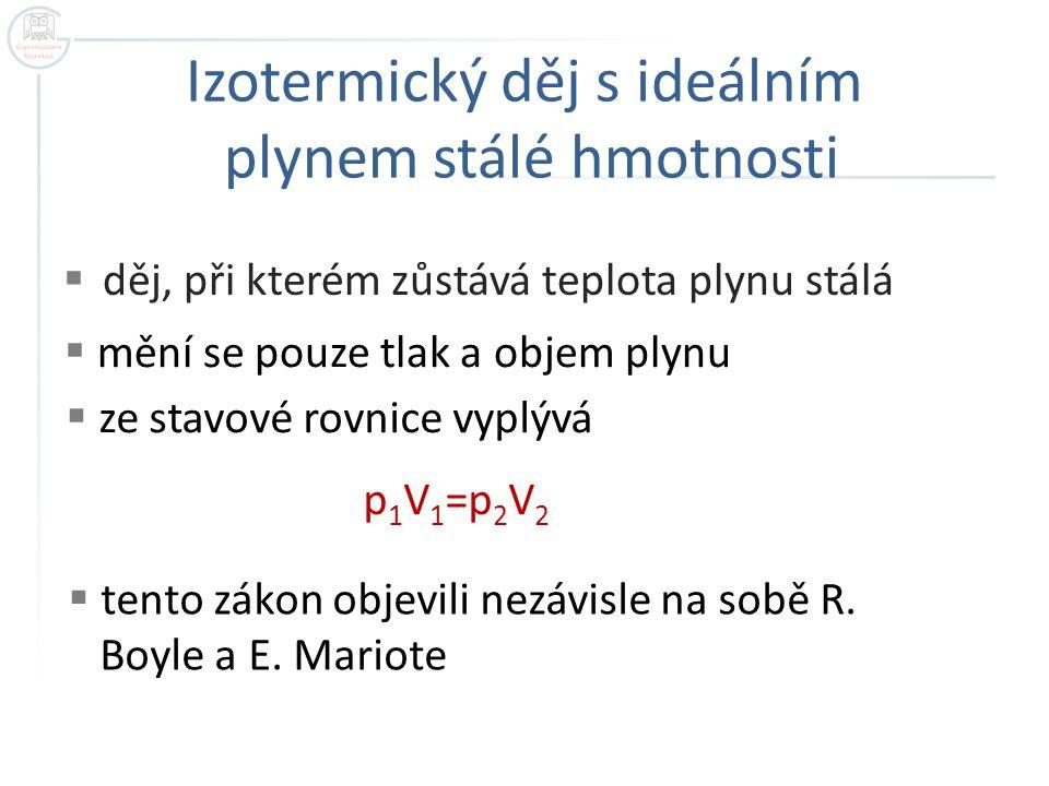 Zákon Boylův - Mariottův Při izotermickém ději s ideálním plynem stálé hmotnosti je tlak plynu nepřímo úměrný jeho objemu.