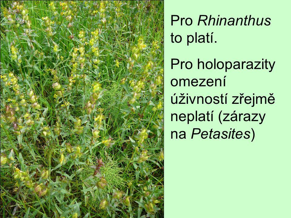 Pro Rhinanthus to platí. Pro holoparazity omezení úživností zřejmě neplatí (zárazy na Petasites)