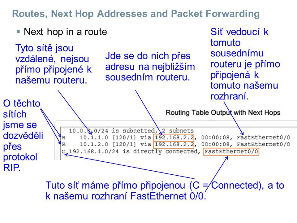 Routes, Next Hop Addresses and Packet Forwarding  Next hop in a route Tyto sítě jsou vzdálené, nejsou přímo připojené k našemu routeru.