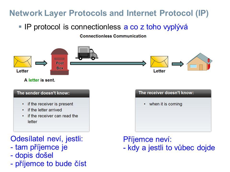 Network Layer Protocols and Internet Protocol (IP)  IP protocol is connectionless a co z toho vyplývá Odesílatel neví, jestli: - tam příjemce je - dopis došel - příjemce to bude číst Příjemce neví: - kdy a jestli to vůbec dojde