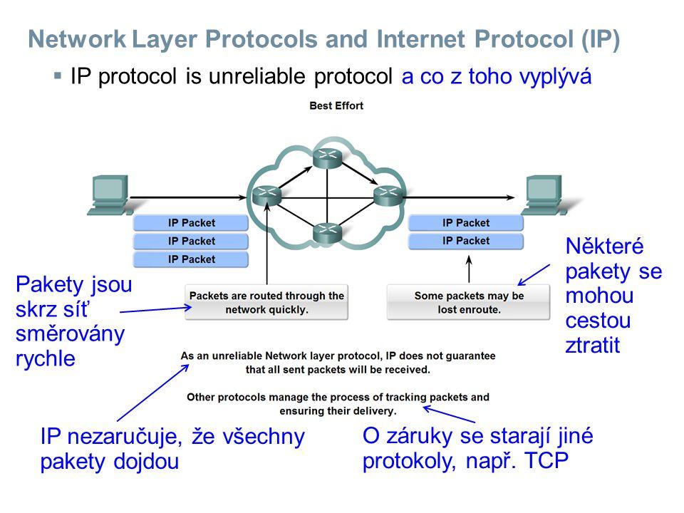 Network Layer Protocols and Internet Protocol (IP)  IP is media independent a co z toho vyplývá Pakety bez problémů procházejí přes různá média.