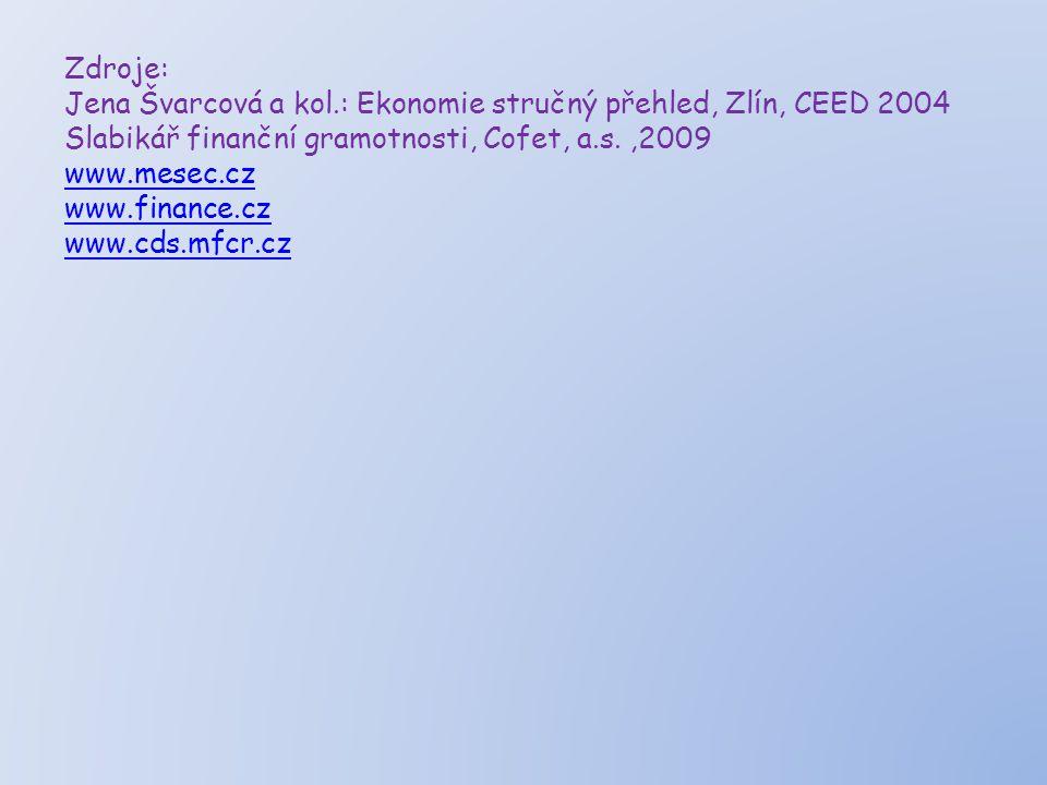 Zdroje: Jena Švarcová a kol.: Ekonomie stručný přehled, Zlín, CEED 2004 Slabikář finanční gramotnosti, Cofet, a.s.,2009 www.mesec.cz www.finance.cz www.cds.mfcr.cz