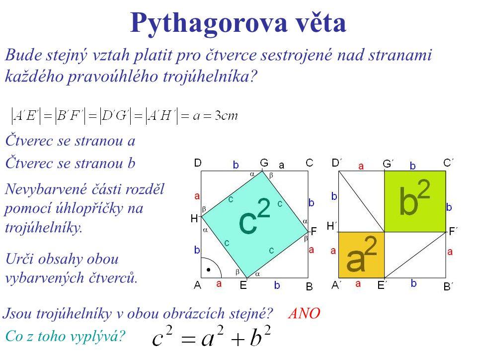 Pythagorova věta Bude stejný vztah platit pro čtverce sestrojené nad stranami každého pravoúhlého trojúhelníka? Čtverec se stranou a Čtverec se strano