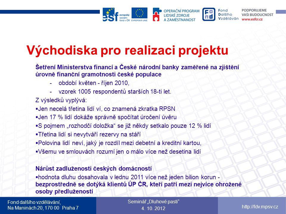 """Fond dalšího vzdělávání, Na Maninách 20, 170 00 Praha 7 http://fdv.mpsv.cz Východiska pro realizaci projektu z monitoringu tisku  Každý pátý Čech není schopen rozlišit lichváře od bezpečného poskytovatele úvěru  87 % Čechů se nevyzná ve smlouvách, které podepisují  pro 62 % osob je výše úroku rozhodujícím faktorem při hodnocení kvality úvěru  Spotřebitelé ani nevědí o zákonné možnosti předčasného splacení úvěru, které je téměř bez sankcí  73 % spotřebitelů nedokáže adekvátně definovat parametry, které by měli sledovat při výběru a hodnocení úvěrových společností Seminář """"Dluhové pasti 4."""