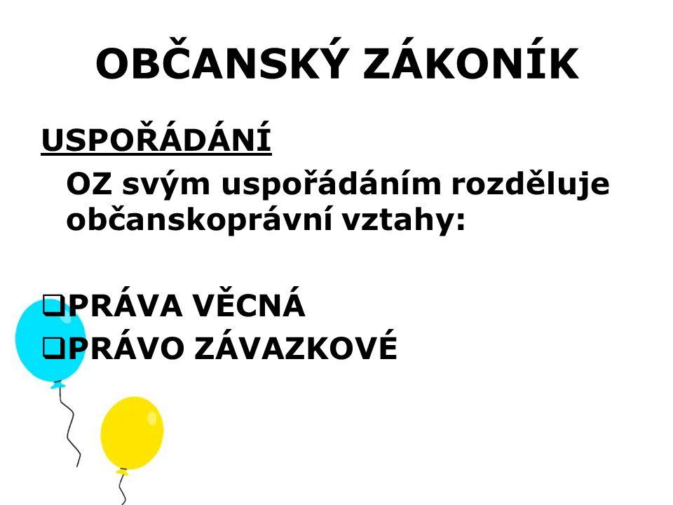 PRÁVA VĚCNÁ Práva věcná (vlastnictví): Zajišťují moc osoby nad věcí bez spojitosti s nějakou povinností jiné konkrétní osoby.