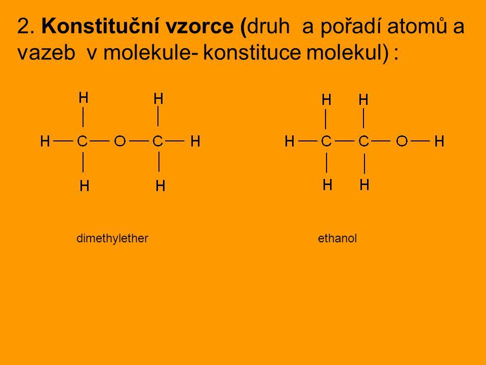 2. Konstituční vzorce (druh a pořadí atomů a vazeb v molekule- konstituce molekul) : dimethylether ethanol