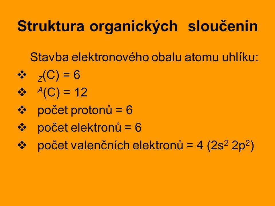 Struktura organických sloučenin Stavba elektronového obalu atomu uhlíku:  Z (C) = 6  A (C) = 12  počet protonů = 6  počet elektronů = 6  počet valenčních elektronů = 4 (2s 2 2p 2 )