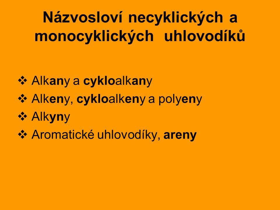 Názvosloví necyklických a monocyklických uhlovodíků  Alkany a cykloalkany  Alkeny, cykloalkeny a polyeny  Alkyny  Aromatické uhlovodíky, areny
