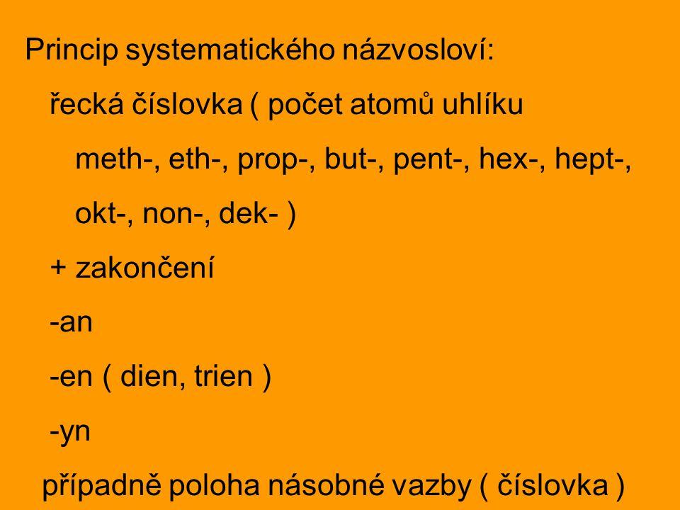 Princip systematického názvosloví: řecká číslovka ( počet atomů uhlíku meth-, eth-, prop-, but-, pent-, hex-, hept-, okt-, non-, dek- ) + zakončení -a