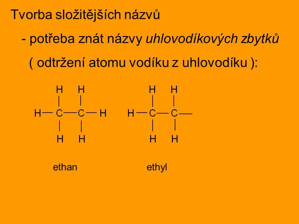 Tvorba složitějších názvů - potřeba znát názvy uhlovodíkových zbytků ( odtržení atomu vodíku z uhlovodíku ): ethan ethyl