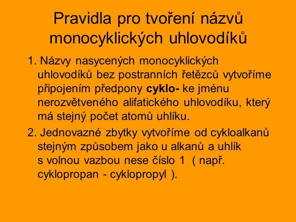 Pravidla pro tvoření názvů monocyklických uhlovodíků 1.