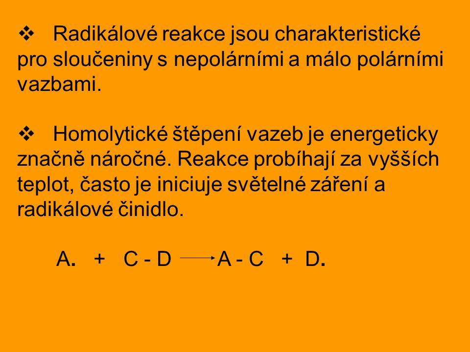  Radikálové reakce jsou charakteristické pro sloučeniny s nepolárními a málo polárními vazbami.  Homolytické štěpení vazeb je energeticky značně nár