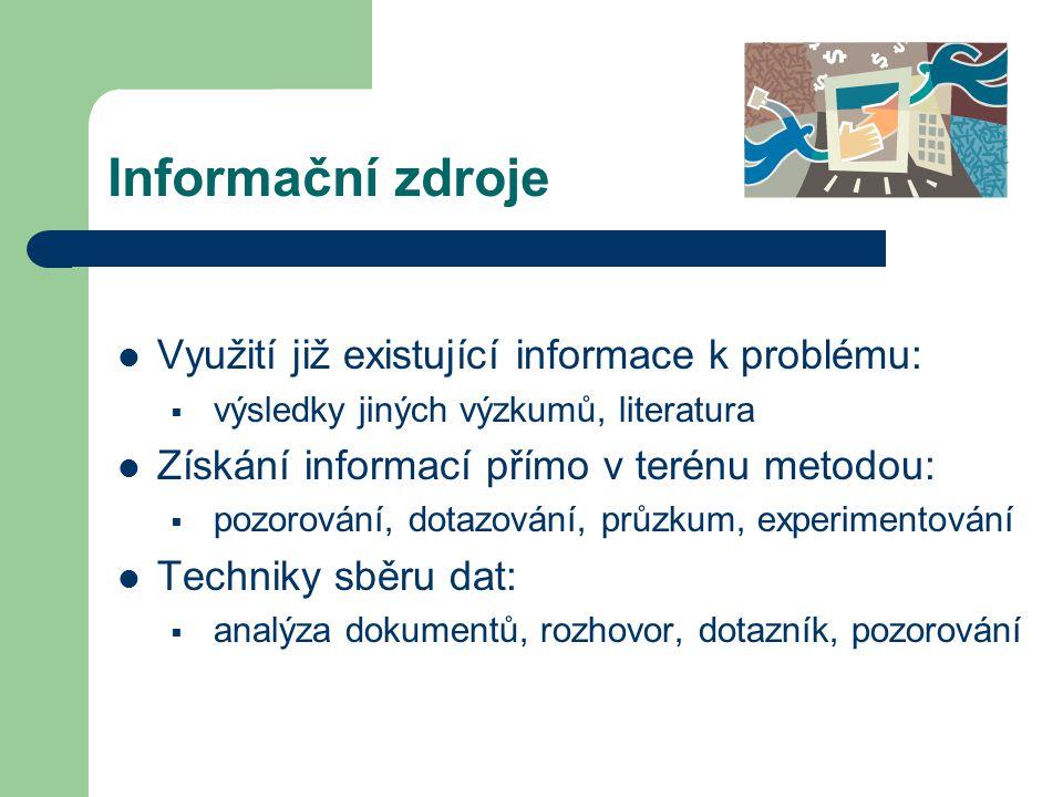Informační zdroje Využití již existující informace k problému:  výsledky jiných výzkumů, literatura Získání informací přímo v terénu metodou:  pozorování, dotazování, průzkum, experimentování Techniky sběru dat:  analýza dokumentů, rozhovor, dotazník, pozorování