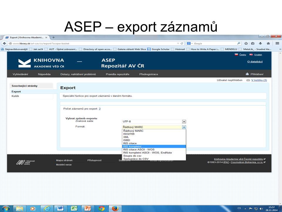 ASEP – export záznamů
