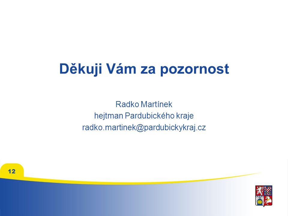 12 Děkuji Vám za pozornost Radko Martínek hejtman Pardubického kraje radko.martinek@pardubickykraj.cz
