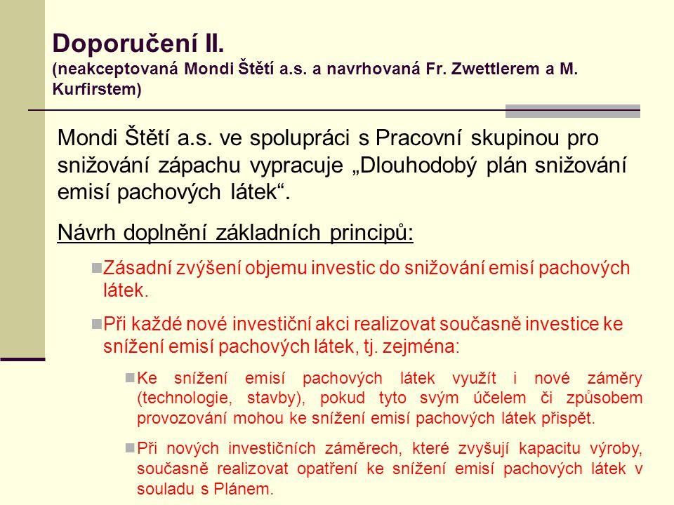 Doporučení II. (neakceptovaná Mondi Štětí a.s. a navrhovaná Fr. Zwettlerem a M. Kurfirstem) Mondi Štětí a.s. ve spolupráci s Pracovní skupinou pro sni