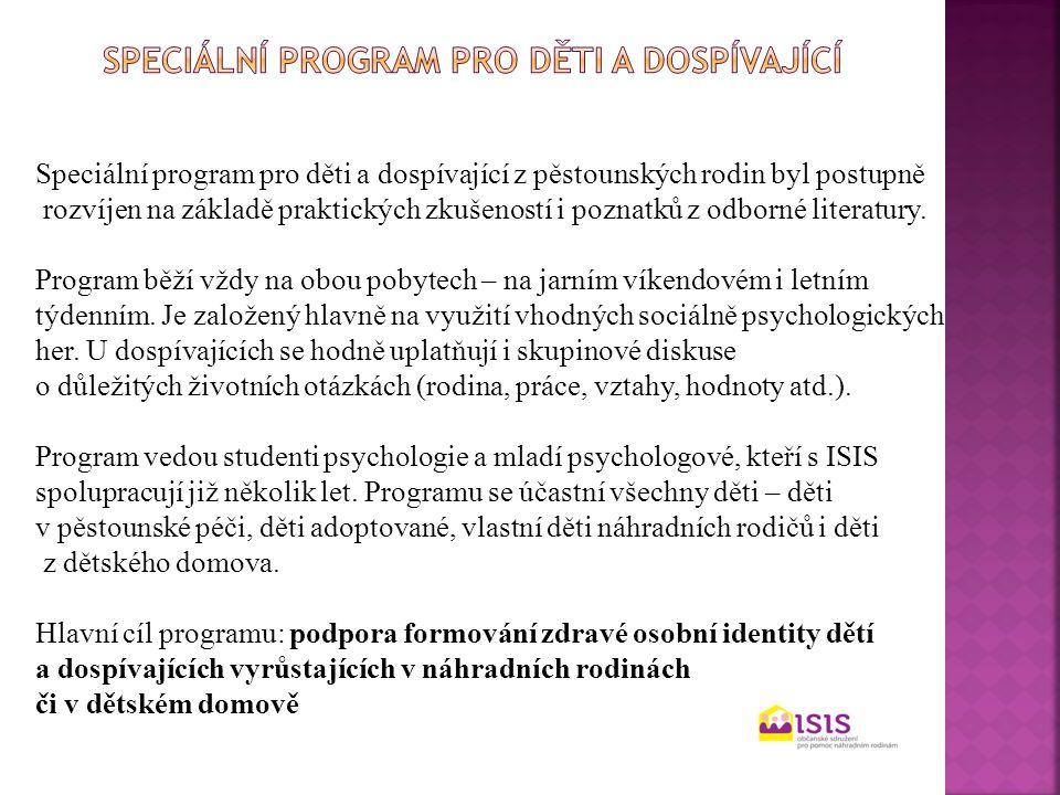 Speciální program pro děti a dospívající z pěstounských rodin byl postupně rozvíjen na základě praktických zkušeností i poznatků z odborné literatury.