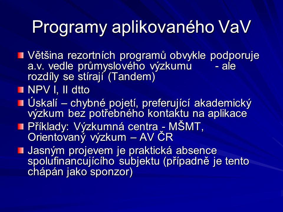 Programy aplikovaného VaV Většina rezortních programů obvykle podporuje a.v.