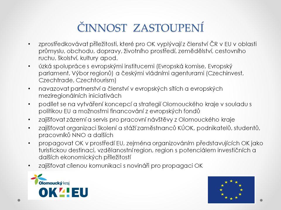 ČINNOST ZASTOUPENÍ zprostředkovávat příležitosti, které pro OK vyplývají z členství ČR v EU v oblasti průmyslu, obchodu, dopravy, životního prostředí, zemědělství, cestovního ruchu, školství, kultury apod.