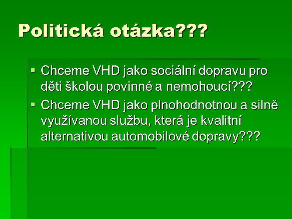 Politická otázka .  Chceme VHD jako sociální dopravu pro děti školou povinné a nemohoucí .