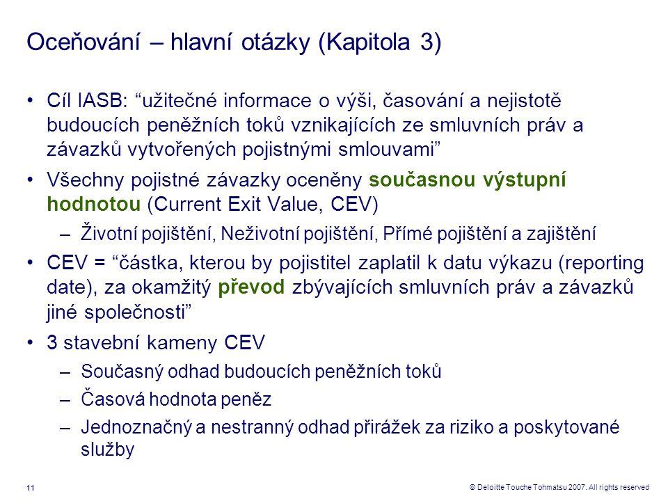 """11 © Deloitte Touche Tohmatsu 2007. All rights reserved Oceňování – hlavní otázky (Kapitola 3) Cíl IASB: """"užitečné informace o výši, časování a nejist"""