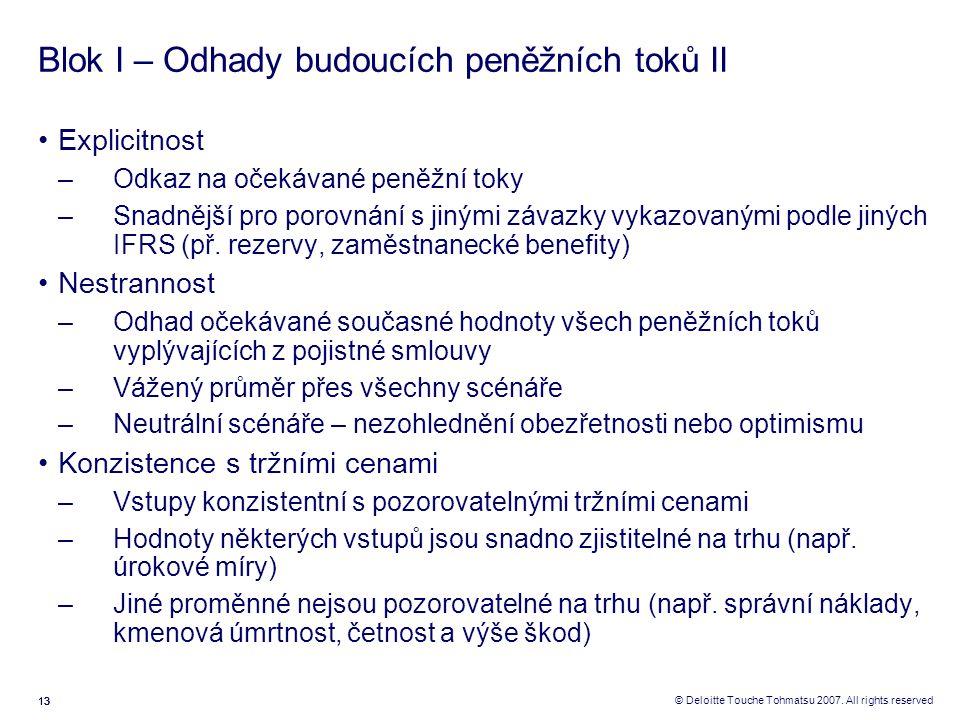 13 © Deloitte Touche Tohmatsu 2007. All rights reserved Blok I – Odhady budoucích peněžních toků II Explicitnost –Odkaz na očekávané peněžní toky –Sna