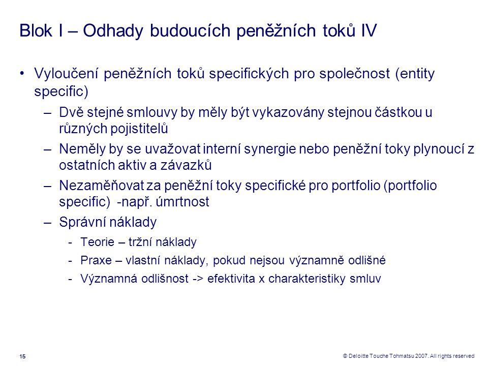 15 © Deloitte Touche Tohmatsu 2007. All rights reserved Blok I – Odhady budoucích peněžních toků IV Vyloučení peněžních toků specifických pro společno