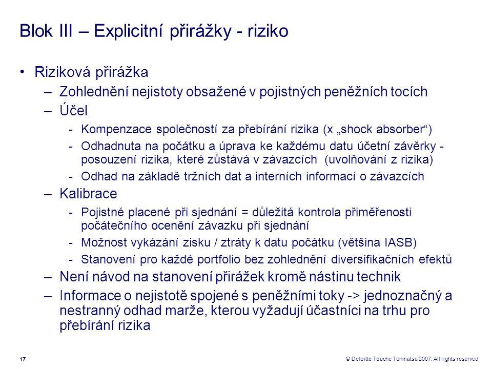 17 © Deloitte Touche Tohmatsu 2007. All rights reserved Blok III – Explicitní přirážky - riziko Riziková přirážka –Zohlednění nejistoty obsažené v poj