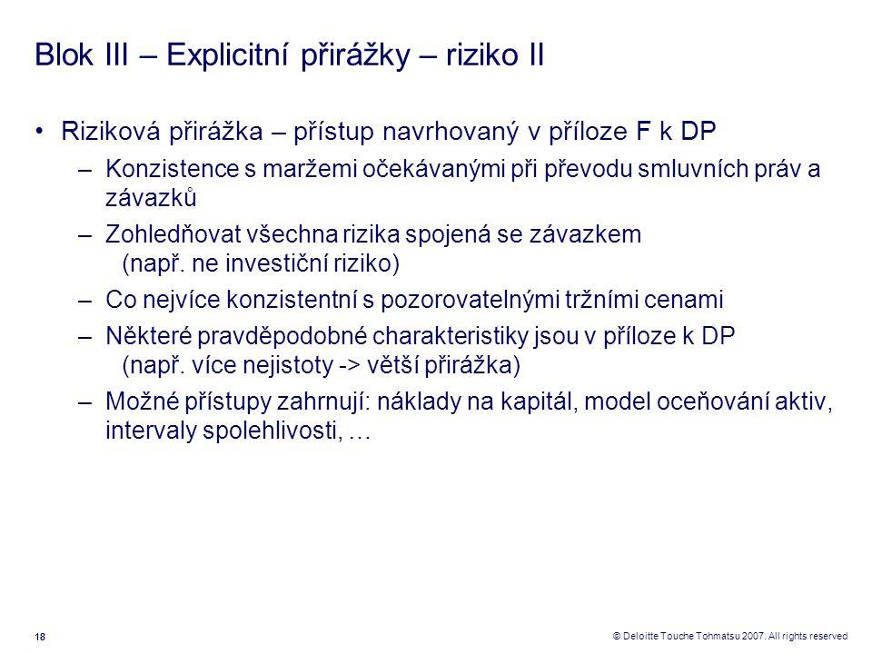 18 © Deloitte Touche Tohmatsu 2007. All rights reserved Blok III – Explicitní přirážky – riziko II Riziková přirážka – přístup navrhovaný v příloze F